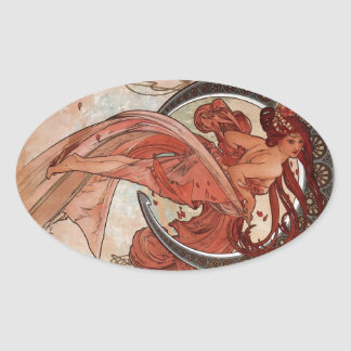 Dance by Alphons Mucha Oval Sticker