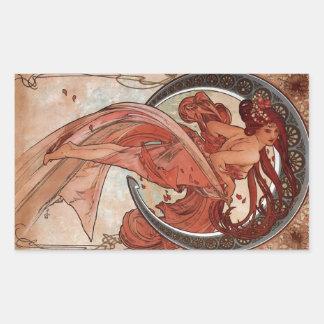 Dance by Alphons Mucha Rectangular Sticker