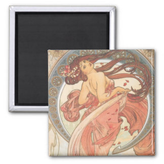 Dance by Mucha 2 Inch Square Magnet