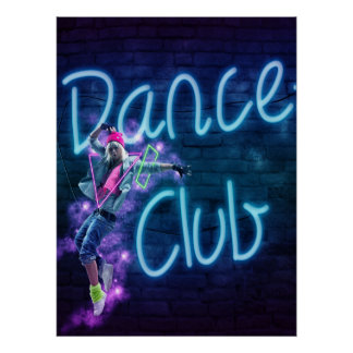Dance Club Neon Sign  Poster