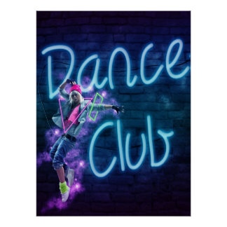 Dance Club Neon Sign With Dancer Blacklight Poster