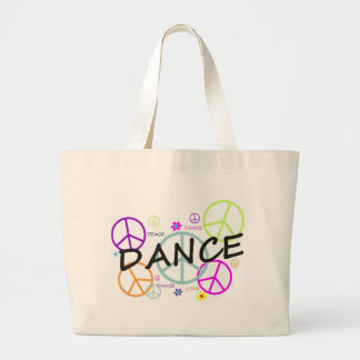 Dance Colored Peace Signs Large Tote Bag