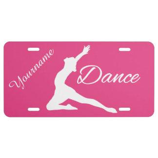 DANCE custom monogram & color license plate