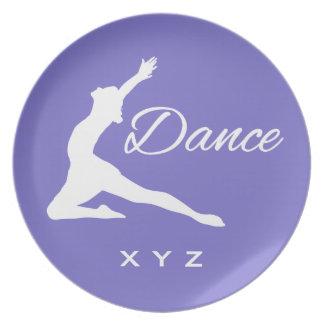 DANCE custom monogram & color melamine plate