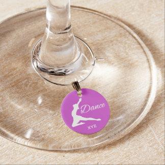 DANCE custom monogram & color wine charm