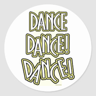 Dance Dance DANCE! stickers in yellow