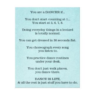 Dance, Dancer, Ballet, Hip Hop, Jazz, Tap, Modern, Canvas Print