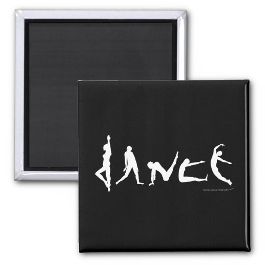 Dance Dancing Silhouette Black and White Magnet