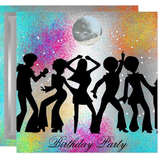 Dance Disco Birthday Party psychodelic invitation
