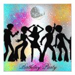 Dance Disco Birthday Party psychodelic 5.25x5.25 Square Paper Invitation Card