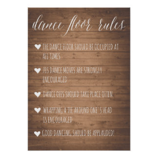 Dance Floor Rules sign | Rustic fun sign