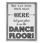 Dance floor seating plan wedding or party sign poster