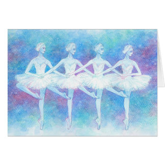 Dance greeting card of swan of four feathers