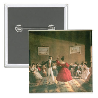 Dance in a Salon in Buenos Aires, c.1831 (w/c on p 2 Inch Square Button
