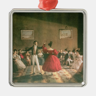 Dance in a Salon in Buenos Aires, c.1831 (w/c on p Square Metal Christmas Ornament