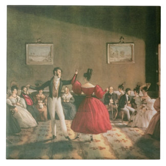 Dance in a Salon in Buenos Aires, c.1831 (w/c on p Large Square Tile