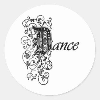 DANCE in Decorative Letters Classic Round Sticker