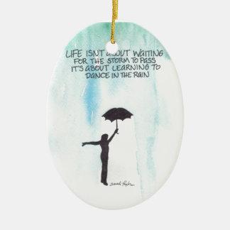 Dance In The Rain Ceramic Ornament