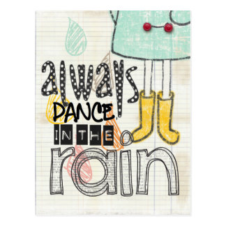 dance in the rain postcard