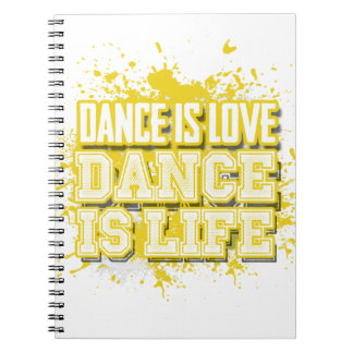 Dance is Love Canary Yellow Dance Diary Spiral Notebooks