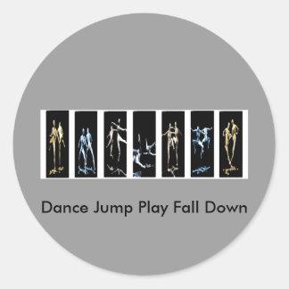 Dance Jump Play Fall Down Classic Round Sticker