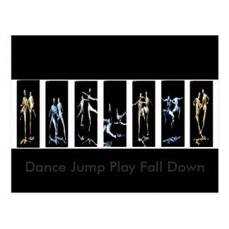 Dance Jump Play Fall Down Postcards