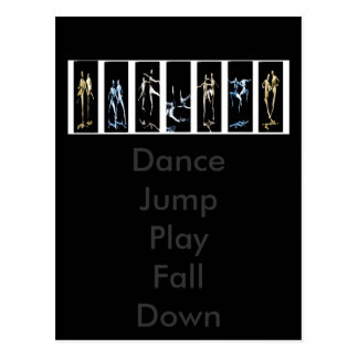 Dance Jump Play Fall Down Post Cards