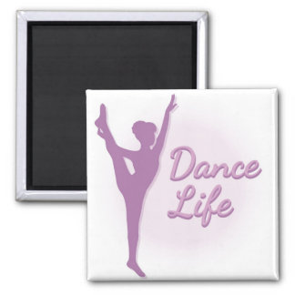 Dance Life Ballerina - Purple - 2 Inch Square Magnet