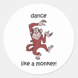 Dance like a monkey! classic round sticker