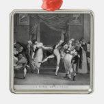 Dance mania, 1809 square metal christmas ornament