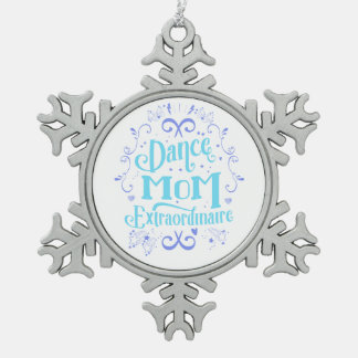 Dance Mom Extraordinaire - Purple and Blue Snowflake Pewter Christmas Ornament