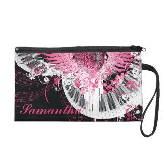 Dance Music Disco Ball Piano Wristlet Purse Wallet