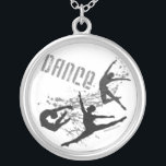 """DANCE Necklace<br><div class=""""desc"""">Studio Miyabi&#39;s popular DANCE design featuring three male dancers in dynamic air poses celebrates the power and exhilaration the men of dance bring to this wonderful art form.  A great gift for anyone who loves dance. www.Gifts4Dancers.com   &#169;Studio Miyabi</div>"""
