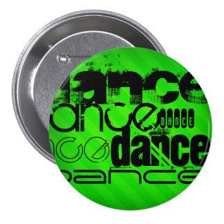 Dance; Neon Green Stripes 3 Inch Round Button