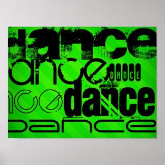 Dance; Neon Green Stripes Poster