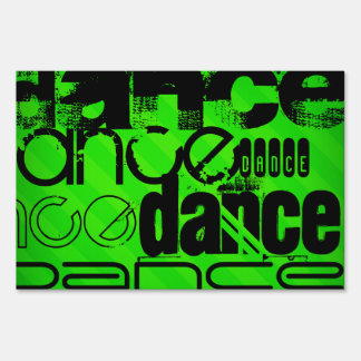 Dance; Neon Green Stripes Lawn Signs