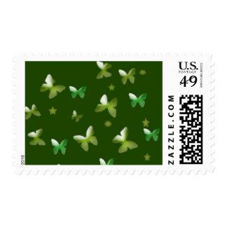 Dance of Butterflies in Green Postage