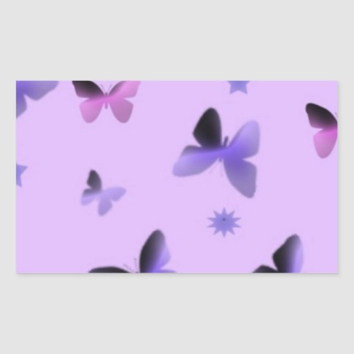 Dance of Butterflies in Lilac Purple Rectangle Stickers