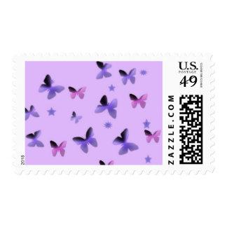 Dance of Butterflies in Purple Postage