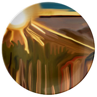Dance of the Cacti Abstract Art Dinner Plate