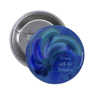 Dance of the Dolphins Abstract Art 2 Inch Round Button