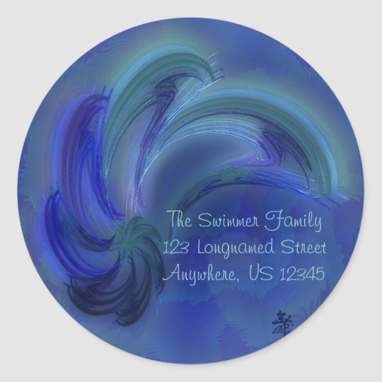 Dance of the Dolphins Abstract Art Classic Round Sticker
