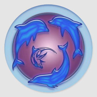 DANCE OF THE DOLPHINS ROUND STICKERS