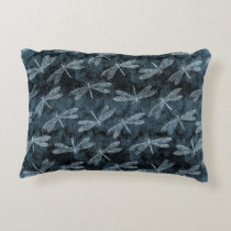 Dance of the Dragonflies Elegant Teal Green Accent Pillow
