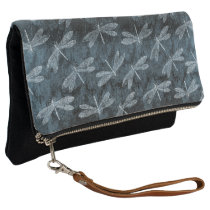 Dance of the Dragonflies Elegant Teal Green Clutch