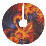 Dance of the Dragons, Abstract Indigo Amber Eyes Faux Linen Tree Skirt