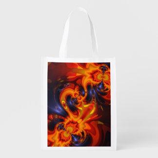 Dance of the Dragons, Abstract Indigo Amber Eyes Market Totes