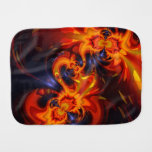 Dance of the Dragons, Abstract Indigo Amber Eyes Baby Burp Cloths