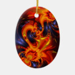 Dance of the Dragons - Indigo & Amber Eyes  Artist Ornament