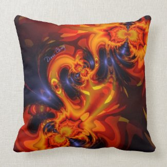 Dance of the Dragons - Indigo & Amber Eyes Throw Pillow
